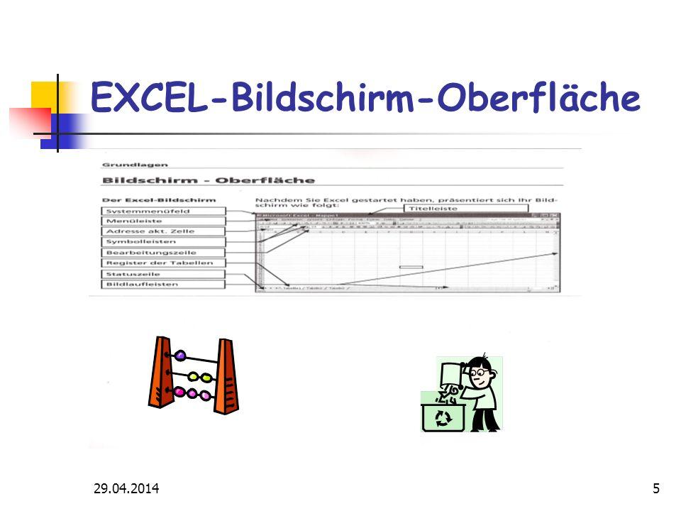 29.04.20145 EXCEL-Bildschirm-Oberfläche