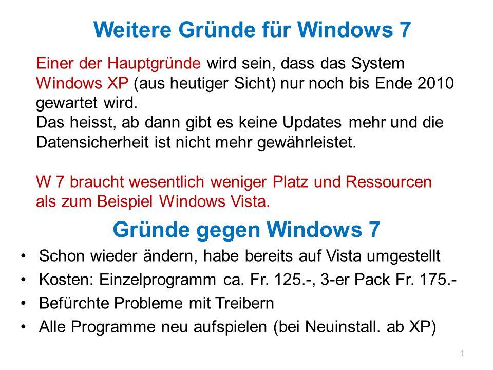 Gründe gegen Windows 7 Schon wieder ändern, habe bereits auf Vista umgestellt Kosten: Einzelprogramm ca. Fr. 125.-, 3-er Pack Fr. 175.- Befürchte Prob