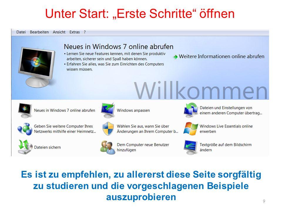Windows 7: Bildschirm / Taskleiste Taskleiste: Die Schnellstartleiste, die unten links Platz für Verknüpfungen zu häufig genutzten Programmen bot, ist dem neuen Design zum Opfer gefallen.
