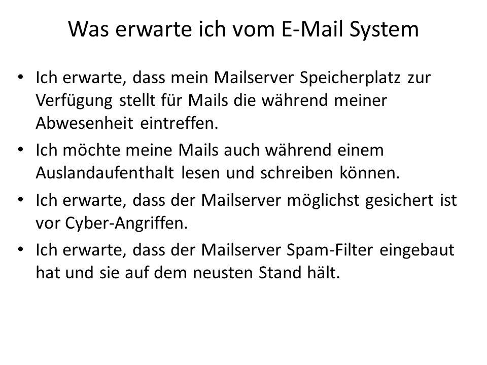 Was erwarte ich vom E-Mail System Ich erwarte, dass mein Mailserver Speicherplatz zur Verfügung stellt für Mails die während meiner Abwesenheit eintre