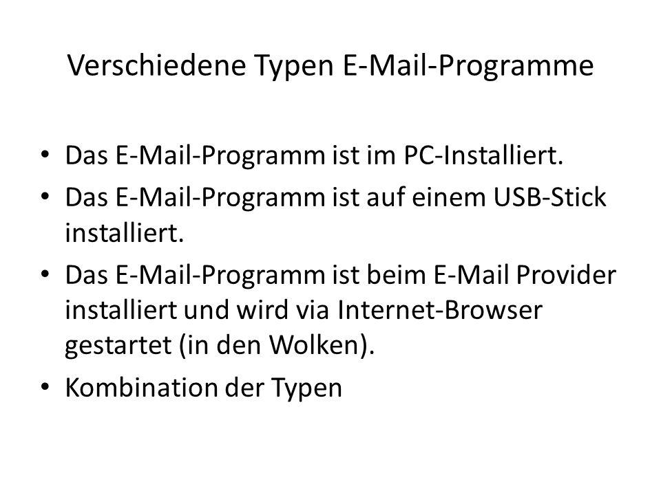 Verschiedene Typen E-Mail-Programme Das E-Mail-Programm ist im PC-Installiert. Das E-Mail-Programm ist auf einem USB-Stick installiert. Das E-Mail-Pro