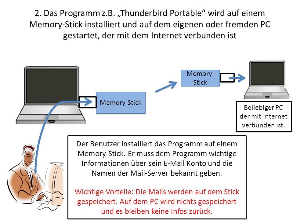 2. Das Programm z.B. Thunderbird Portable wird auf einem Memory-Stick installiert und auf dem eigenen oder fremden PC gestartet, der mit dem Internet