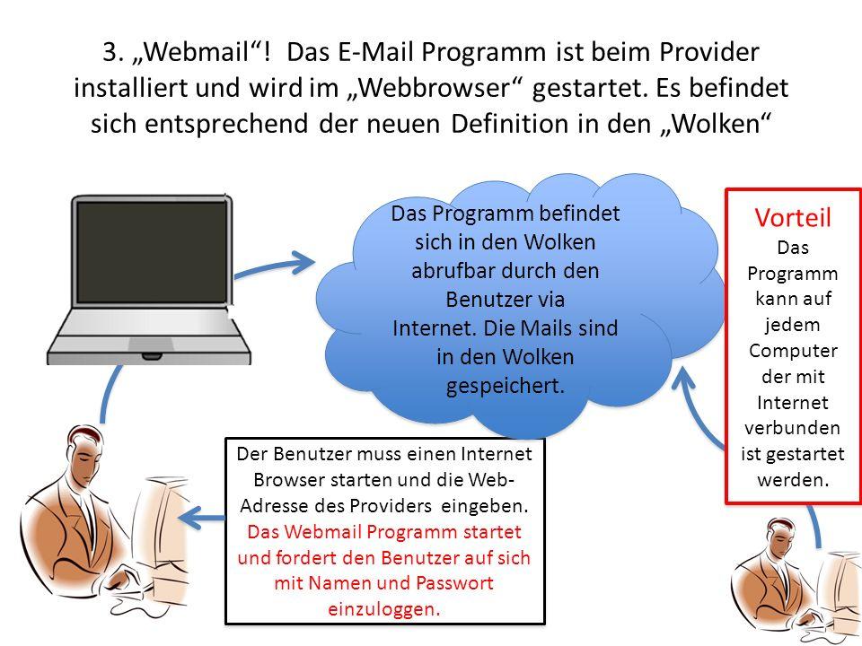 3. Webmail! Das E-Mail Programm ist beim Provider installiert und wird im Webbrowser gestartet. Es befindet sich entsprechend der neuen Definition in