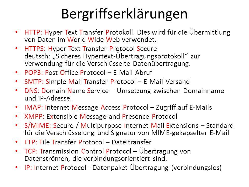 Bergriffserklärungen HTTP: Hyper Text Transfer Protokoll. Dies wird für die Übermittlung von Daten im World Wide Web verwendet. HTTPS: Hyper Text Tran