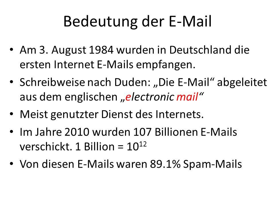 Bedeutung der E-Mail Am 3. August 1984 wurden in Deutschland die ersten Internet E-Mails empfangen. Schreibweise nach Duden: Die E-Mail abgeleitet aus