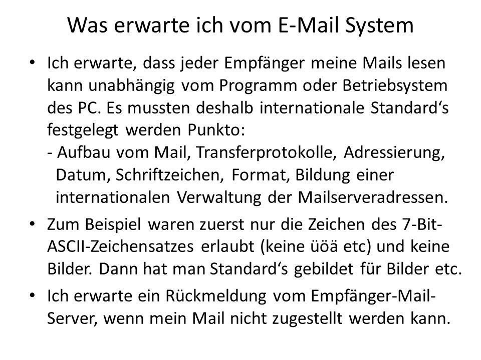 Was erwarte ich vom E-Mail System Ich erwarte, dass jeder Empfänger meine Mails lesen kann unabhängig vom Programm oder Betriebsystem des PC. Es musst