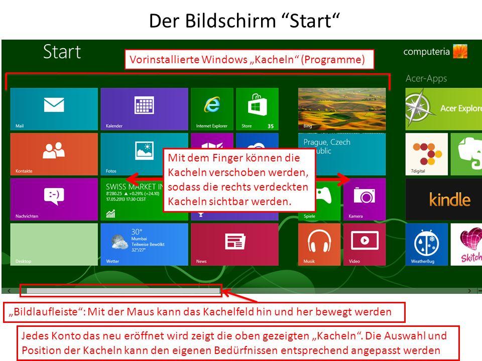 Der Bildschirm Start Jedes Konto das neu eröffnet wird zeigt die oben gezeigten Kacheln. Die Auswahl und Position der Kacheln kann den eigenen Bedürfn
