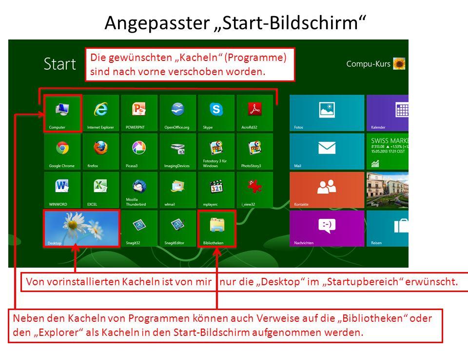 Angepasster Start-Bildschirm Die gewünschten Kacheln (Programme) sind nach vorne verschoben worden. Neben den Kacheln von Programmen können auch Verwe
