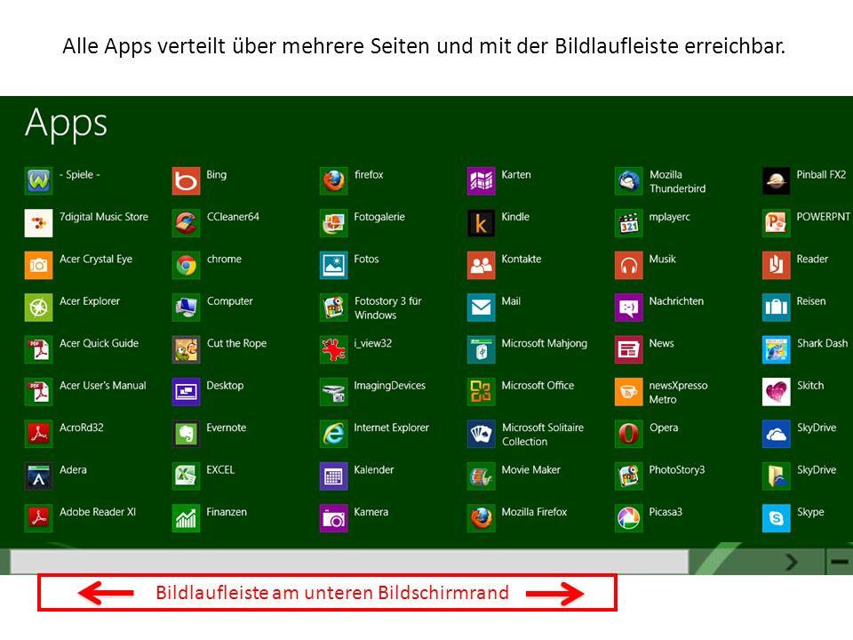 Bildlaufleiste am unteren Bildschirmrand Alle Apps verteilt über mehrere Seiten und mit der Bildlaufleiste erreichbar.