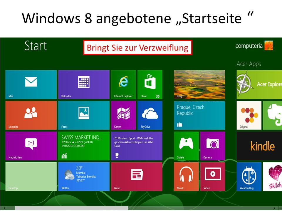 Windows 8 angebotene Startseite Bringt Sie zur Verzweiflung