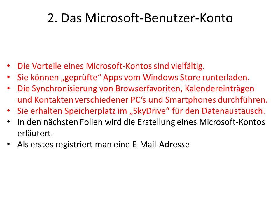 2. Das Microsoft-Benutzer-Konto Die Vorteile eines Microsoft-Kontos sind vielfältig. Sie können geprüfte Apps vom Windows Store runterladen. Die Synch