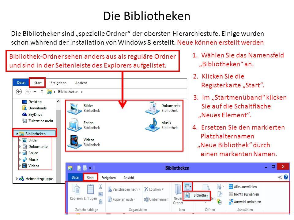 Die Bibliotheken Die Bibliotheken sind spezielle Ordner der obersten Hierarchiestufe. Einige wurden schon während der Installation von Windows 8 erste