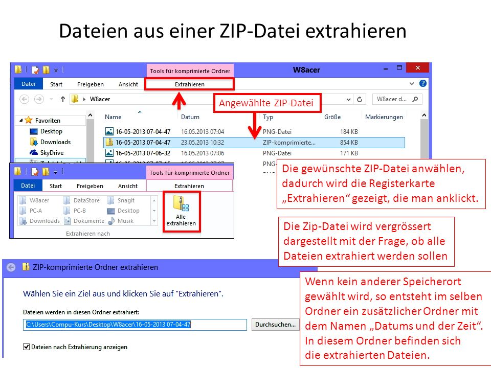 Dateien aus einer ZIP-Datei extrahieren Angewählte ZIP-Datei Die gewünschte ZIP-Datei anwählen, dadurch wird die Registerkarte Extrahieren gezeigt, di