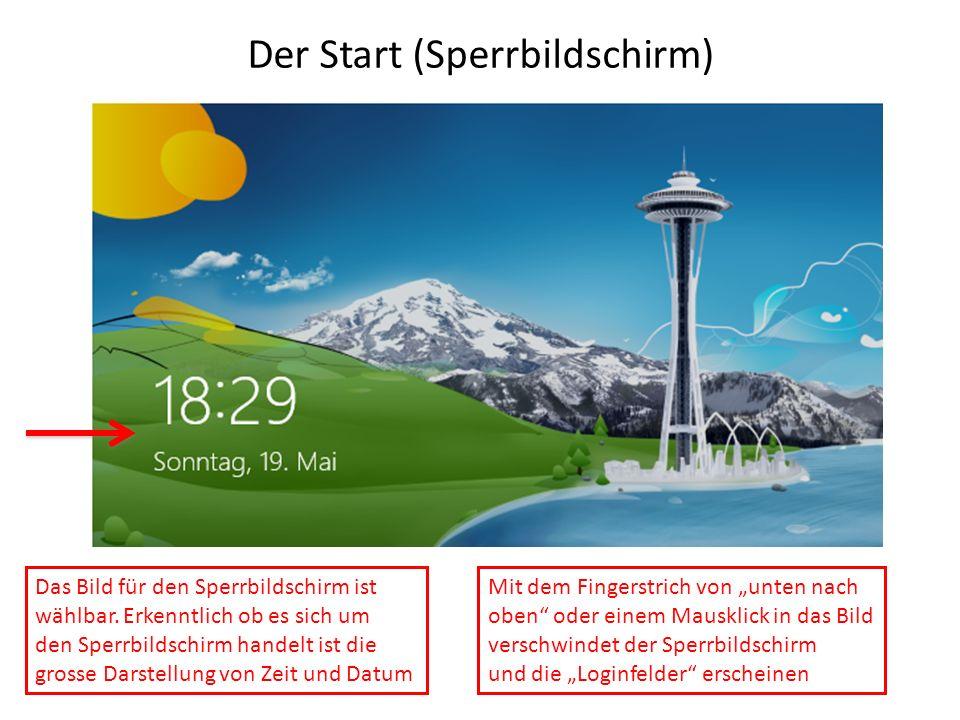 Der Start (Sperrbildschirm) Das Bild für den Sperrbildschirm ist wählbar. Erkenntlich ob es sich um den Sperrbildschirm handelt ist die grosse Darstel