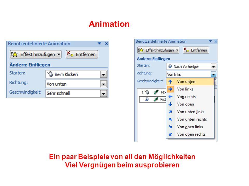 Animation Ein paar Beispiele von all den Möglichkeiten Viel Vergnügen beim ausprobieren