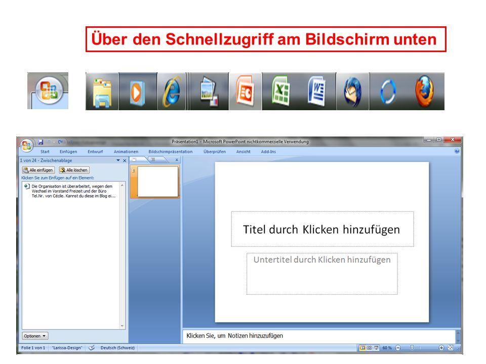Zuletzt verwendete Dokumente, Übersicht und Schnellzugriff auf Vorhandene Dokumente Schaltfläche Office (oben links) Befehle für Öffnen, Speichern, Drucken weitere Befehle, etc.