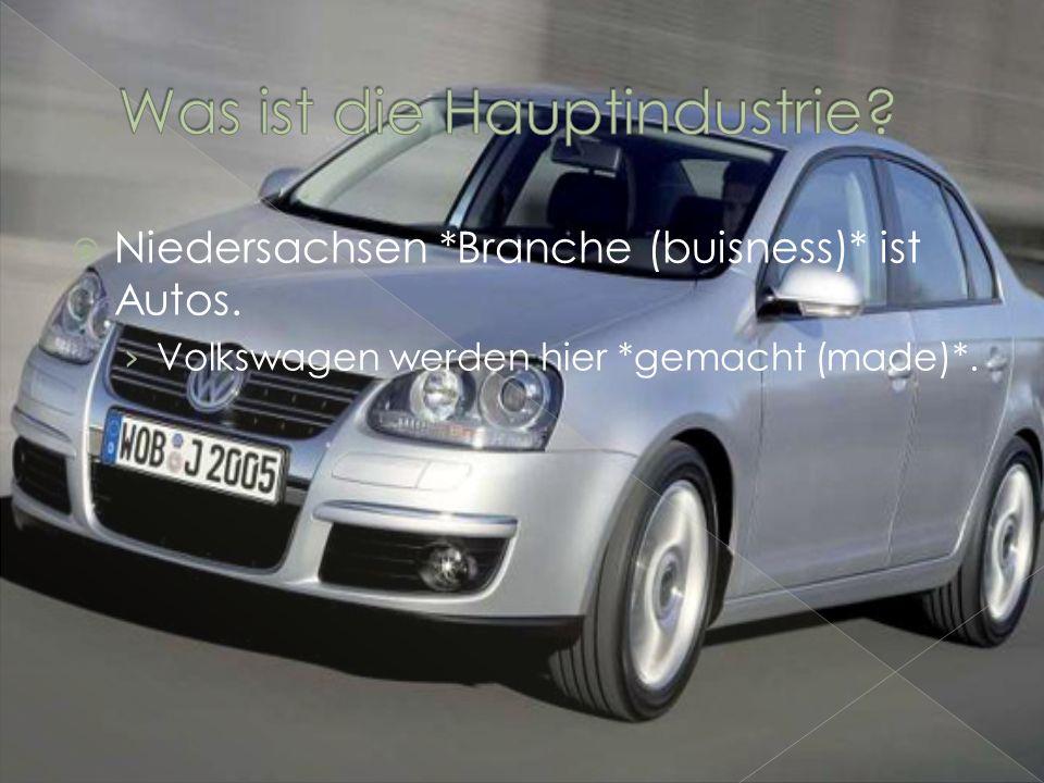 Niedersachsen *Branche (buisness)* ist Autos. Volkswagen werden hier *gemacht (made)*.