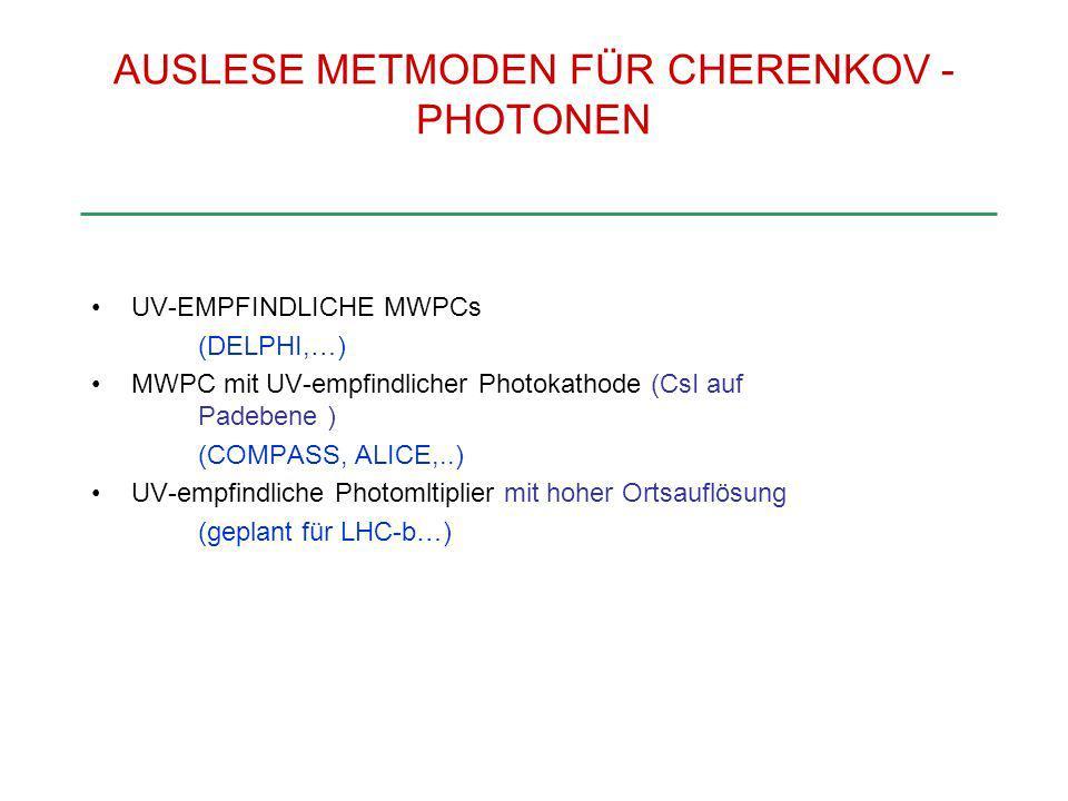 AUSLESE METMODEN FÜR CHERENKOV - PHOTONEN UV-EMPFINDLICHE MWPCs (DELPHI,…) MWPC mit UV-empfindlicher Photokathode (CsI auf Padebene ) (COMPASS, ALICE,