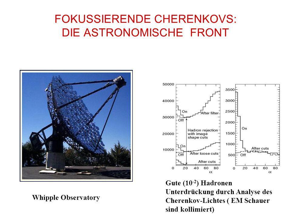 FOKUSSIERENDE CHERENKOVS: DIE ASTRONOMISCHE FRONT Whipple Observatory Gute (10 -2 ) Hadronen Unterdrückung durch Analyse des Cherenkov-Lichtes ( EM Sc