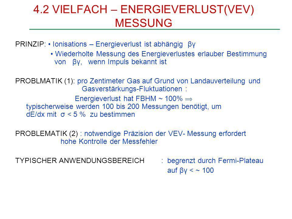 VIELFACH – ENERGIEVERLUST MESSUNG - Theorie des Ionisationsverlustes verstanden; auf Grund des Interesses an VEV Identifikation erweitert durch Einbezug der Atomnieveaus der Gase im relativistischen Anstieg (5 bis 50 GeV/c) sind Unterschiede im mittleren dE/dx circa 10%; signifikante Identifikation erfordert Genauigkeit von einigen Prozent
