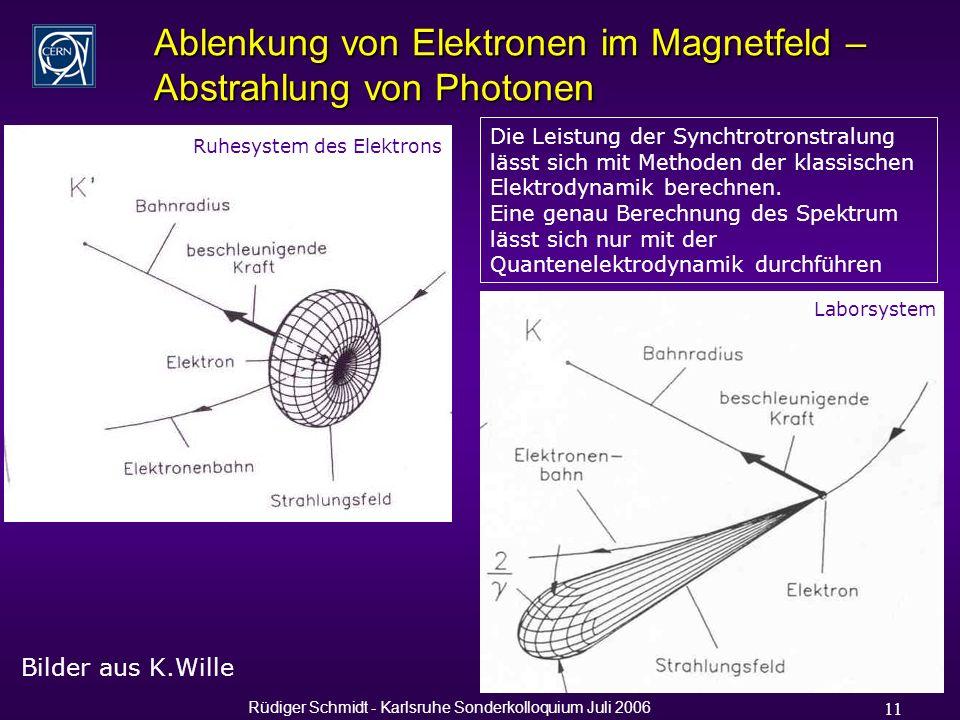 Rüdiger Schmidt - Karlsruhe Sonderkolloquium Juli 2006 11 Ablenkung von Elektronen im Magnetfeld – Abstrahlung von Photonen Bilder aus K.Wille Die Leistung der Synchtrotronstralung lässt sich mit Methoden der klassischen Elektrodynamik berechnen.