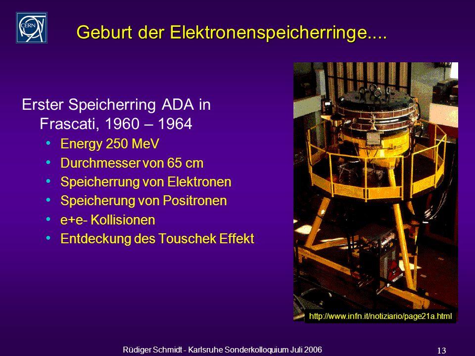 Rüdiger Schmidt - Karlsruhe Sonderkolloquium Juli 2006 13 Geburt der Elektronenspeicherringe....