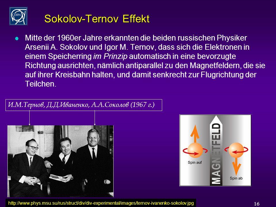 Rüdiger Schmidt - Karlsruhe Sonderkolloquium Juli 2006 16 Sokolov-Ternov Effekt l Mitte der 1960er Jahre erkannten die beiden russischen Physiker Arsenii A.
