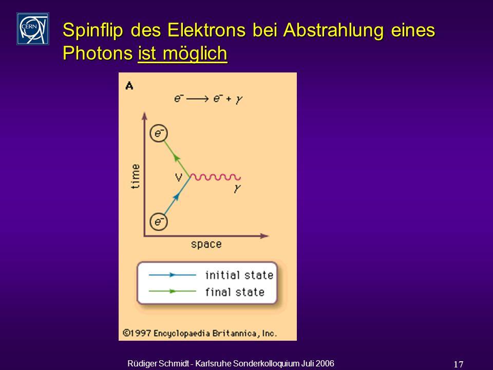 Rüdiger Schmidt - Karlsruhe Sonderkolloquium Juli 2006 17 Spinflip des Elektrons bei Abstrahlung eines Photons ist möglich