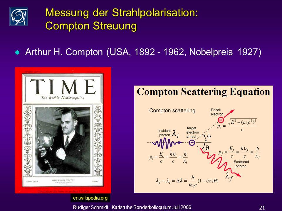 Rüdiger Schmidt - Karlsruhe Sonderkolloquium Juli 2006 21 Messung der Strahlpolarisation: Compton Streuung l Arthur H.