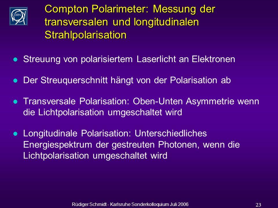 Rüdiger Schmidt - Karlsruhe Sonderkolloquium Juli 2006 23 Compton Polarimeter: Messung der transversalen und longitudinalen Strahlpolarisation l Streuung von polarisiertem Laserlicht an Elektronen l Der Streuquerschnitt hängt von der Polarisation ab l Transversale Polarisation: Oben-Unten Asymmetrie wenn die Lichtpolarisation umgeschaltet wird l Longitudinale Polarisation: Unterschiedliches Energiespektrum der gestreuten Photonen, wenn die Lichtpolarisation umgeschaltet wird