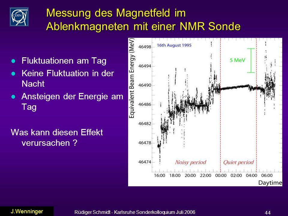 Rüdiger Schmidt - Karlsruhe Sonderkolloquium Juli 2006 44 Messung des Magnetfeld im Ablenkmagneten mit einer NMR Sonde l Fluktuationen am Tag l Keine Fluktuation in der Nacht l Ansteigen der Energie am Tag Was kann diesen Effekt verursachen .