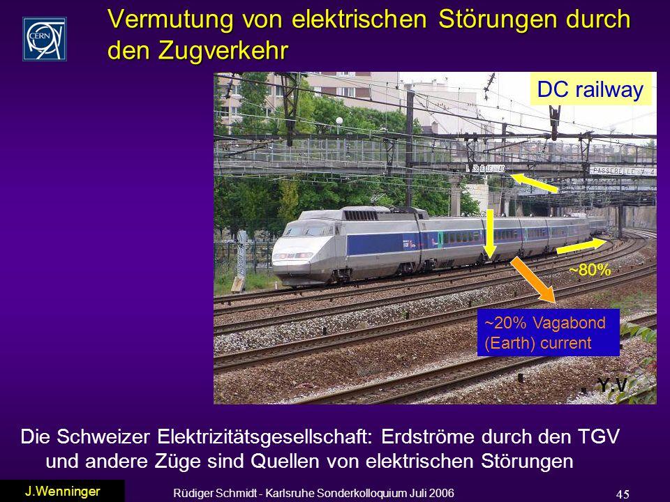 Rüdiger Schmidt - Karlsruhe Sonderkolloquium Juli 2006 45 Vermutung von elektrischen Störungen durch den Zugverkehr Die Schweizer Elektrizitätsgesellschaft: Erdströme durch den TGV und andere Züge sind Quellen von elektrischen Störungen ~80% ~20% Vagabond (Earth) current DC railway J.Wenninger