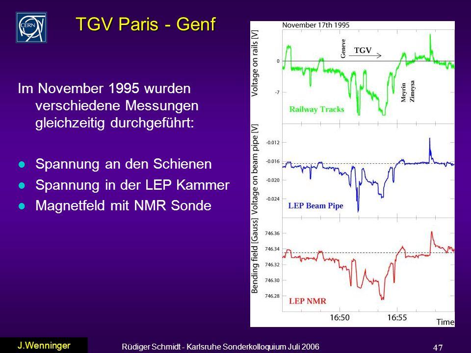 Rüdiger Schmidt - Karlsruhe Sonderkolloquium Juli 2006 47 TGV Paris - Genf Im November 1995 wurden verschiedene Messungen gleichzeitig durchgeführt: l Spannung an den Schienen l Spannung in der LEP Kammer l Magnetfeld mit NMR Sonde J.Wenninger