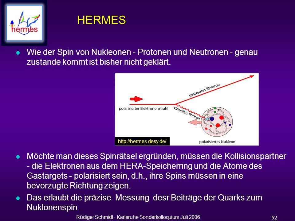 Rüdiger Schmidt - Karlsruhe Sonderkolloquium Juli 2006 52 HERMES l Wie der Spin von Nukleonen - Protonen und Neutronen - genau zustande kommt ist bisher nicht geklärt.