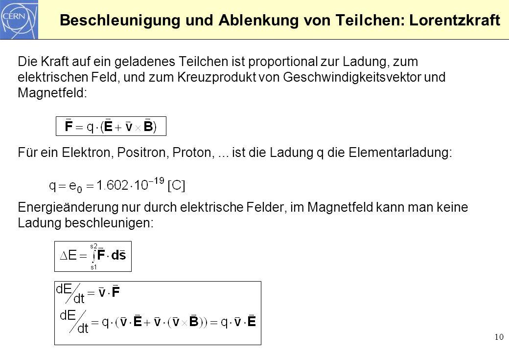 10 Beschleunigung und Ablenkung von Teilchen: Lorentzkraft Die Kraft auf ein geladenes Teilchen ist proportional zur Ladung, zum elektrischen Feld, un
