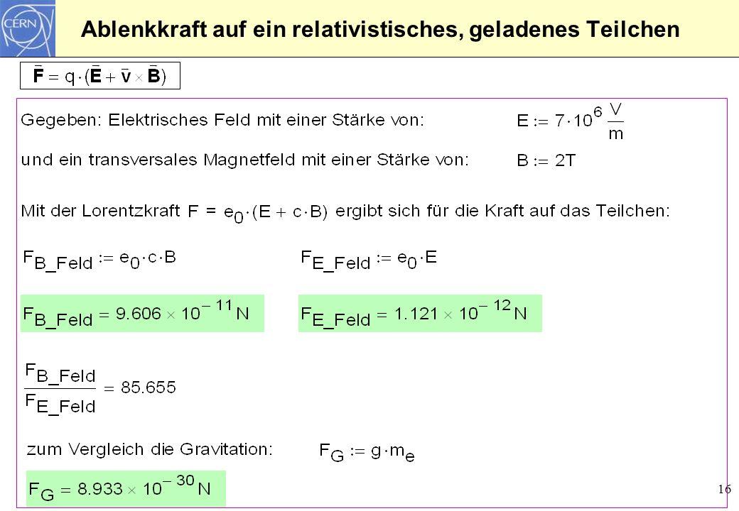 16 Ablenkkraft auf ein relativistisches, geladenes Teilchen