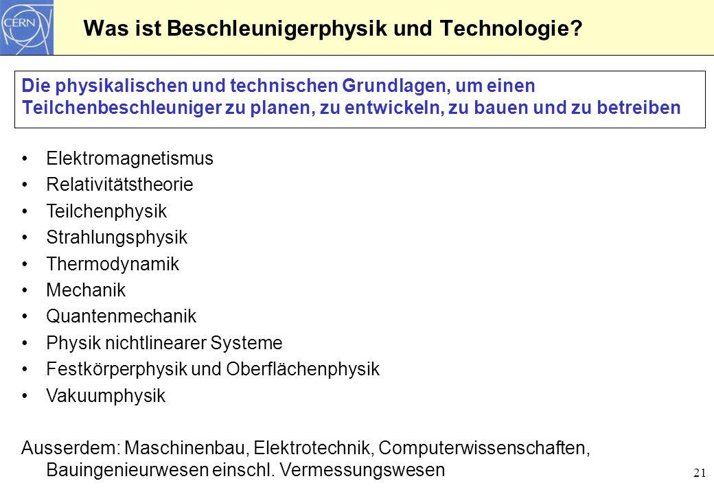 21 Was ist Beschleunigerphysik und Technologie? Die physikalischen und technischen Grundlagen, um einen Teilchenbeschleuniger zu planen, zu entwickeln