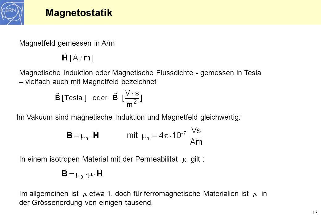 13 Magnetostatik Magnetische Induktion oder Magnetische Flussdichte - gemessen in Tesla – vielfach auch mit Magnetfeld bezeichnet Magnetfeld gemessen