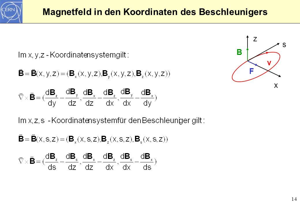 14 Magnetfeld in den Koordinaten des Beschleunigers z x s v B F