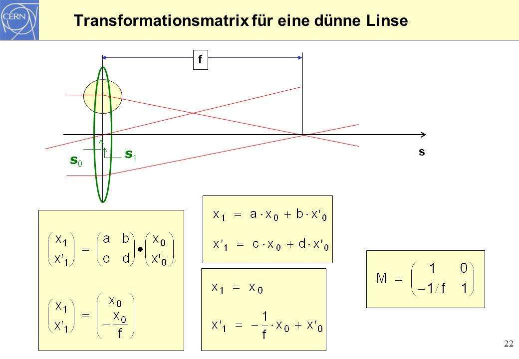 22 Transformationsmatrix für eine dünne Linse s f s1s1 s0s0