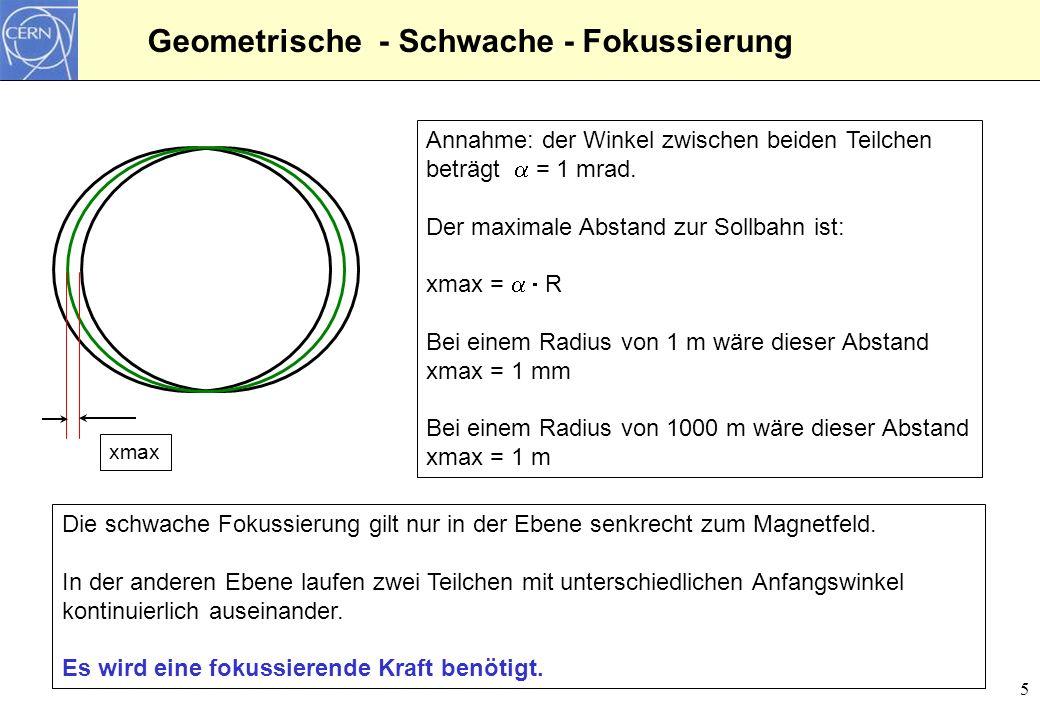 5 Geometrische - Schwache - Fokussierung Annahme: der Winkel zwischen beiden Teilchen beträgt = 1 mrad. Der maximale Abstand zur Sollbahn ist: xmax =