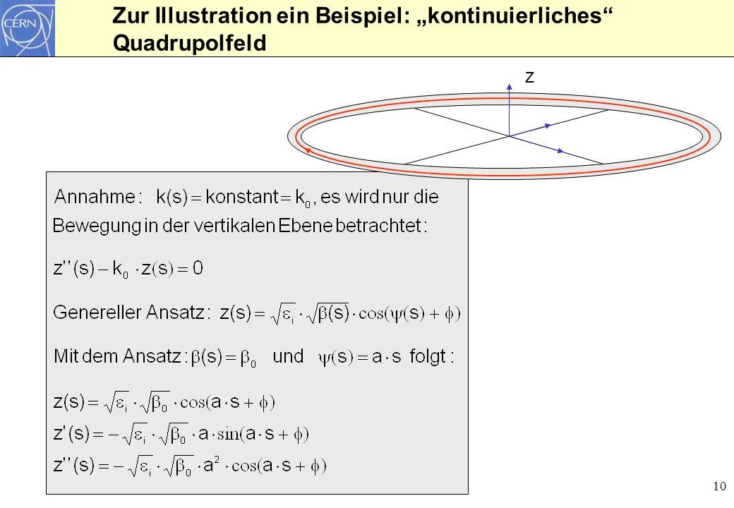 10 Zur Illustration ein Beispiel: kontinuierliches Quadrupolfeld z