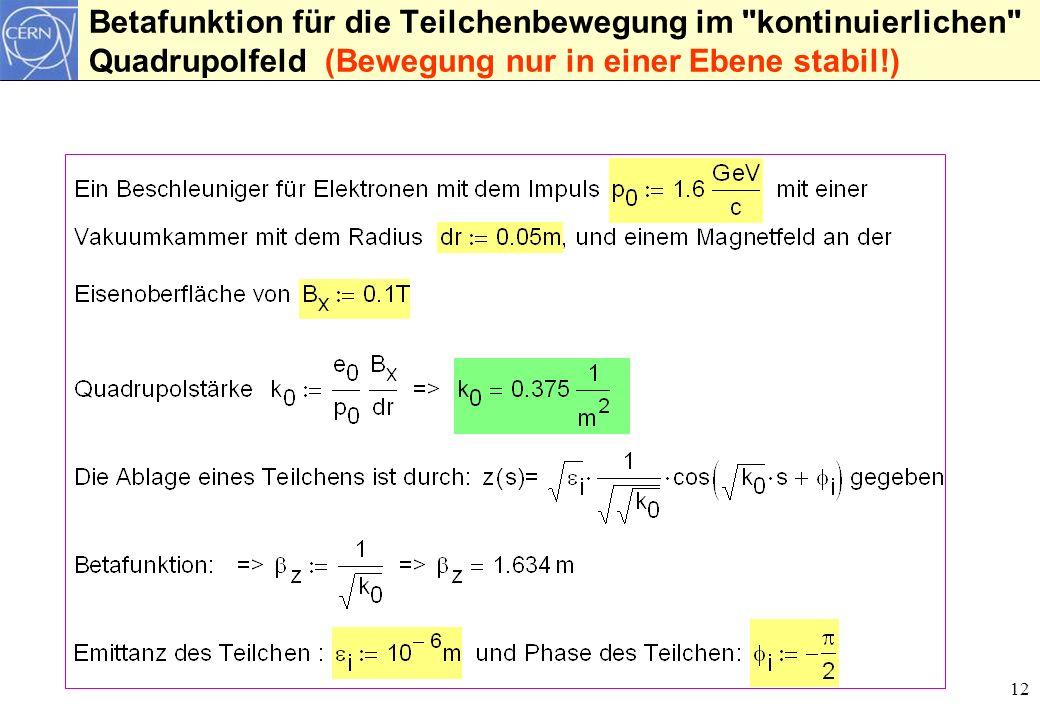 12 Betafunktion für die Teilchenbewegung im