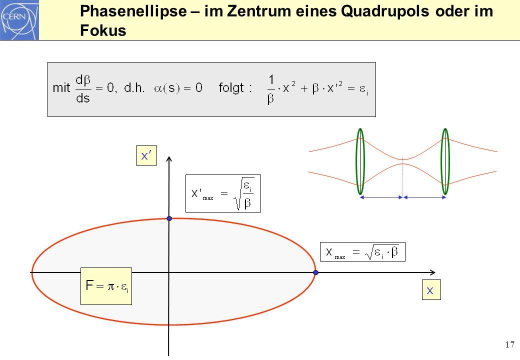 18 Betatronschwingungen für viele Teilchen Maximale Amplitude eines Teilchens an einer Position s Eigenschaft der Teilchen Eigenschaft des Beschleunigers Eigenschaft der Teilchen