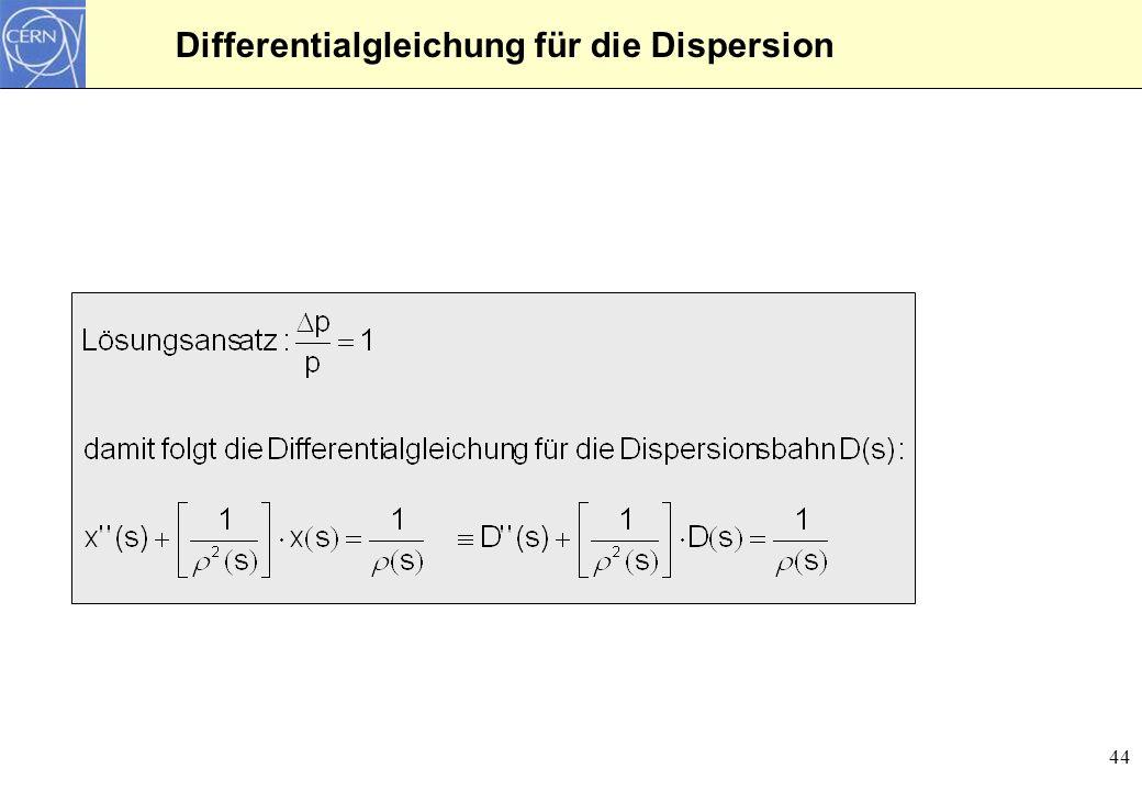 45 Lösung der Dispersionsbahn Die Lösung für die Dispersion ergibt sich aus drei Termen: Im Unterschied zur Betatronmatrix ergibt sich eine Dispersion, wenn ein Teilchen ohne Dispersion und Dispersionsableitung in einen Ablenkmagneten läuft