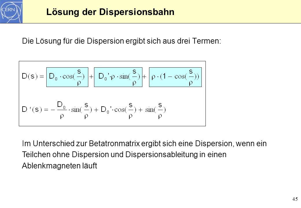46 Matrix für die Dispersion Um die Dispersionbahn mit einer Matrix zu beschreiben, sind 3 Terme notwendig: