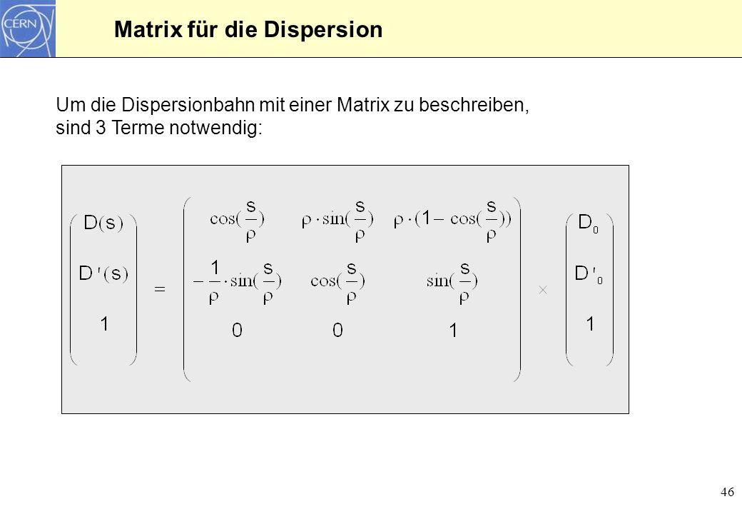 47 Dispersionsbahn in einem Ablenkmagneten x 0 = 0 x 1 = 2.91 mm x 1 = 3.83 mrad Beispiel für einen Ablenkmagneten mit einer Länge von 1.5 m und einem Ablenkradius von = 3.82 m