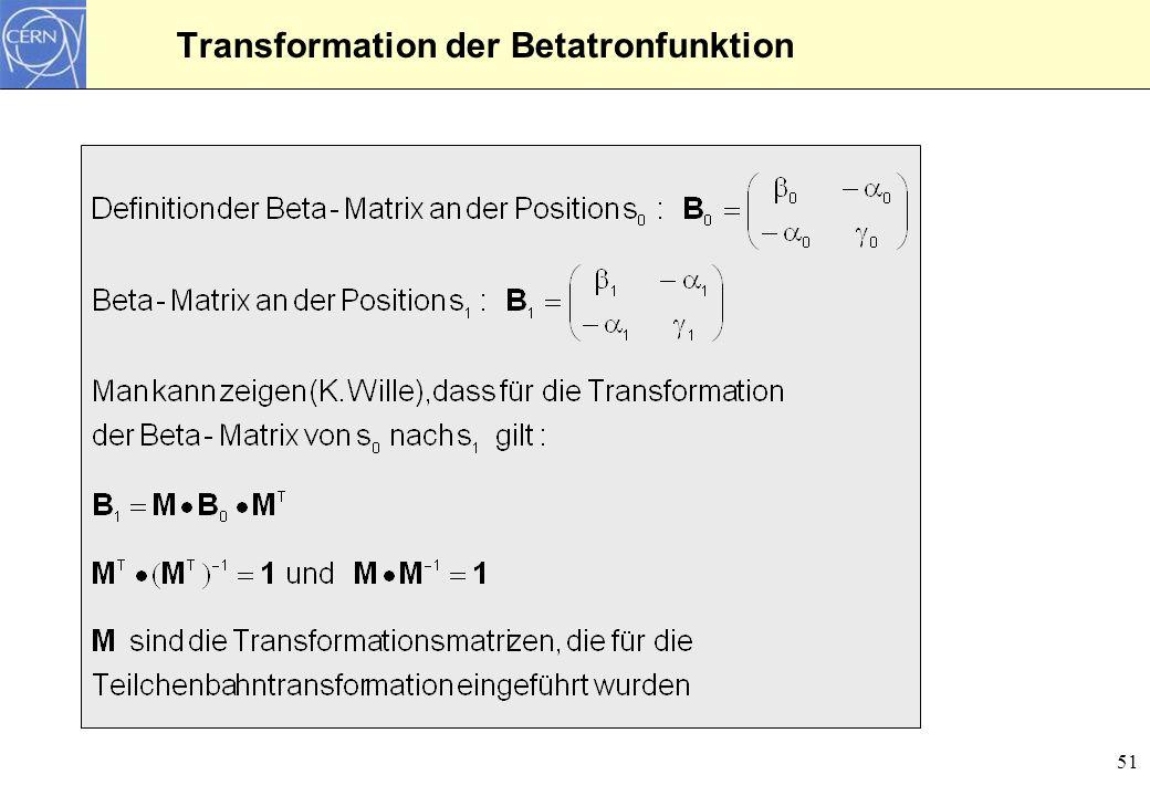 52 Transformation der Betafunktion durch eine Driftstrecke