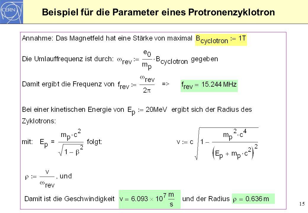15 Beispiel für die Parameter eines Protronenzyklotron
