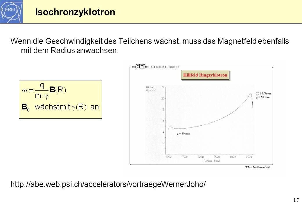17 Isochronzyklotron Wenn die Geschwindigkeit des Teilchens wächst, muss das Magnetfeld ebenfalls mit dem Radius anwachsen: http://abe.web.psi.ch/acce